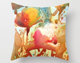 Poppies Watercolor Throw Pillow Cover