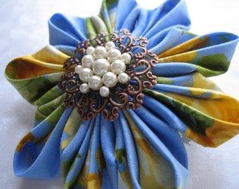 Sky Sailing Giant Kanzashi Flower Barrette in Blue and Yellow