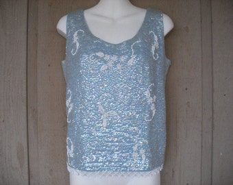 Gorgeous 50s Vintage Wool Sequin Top Blouse In A Baby Blue Color With White Floral Beaded Detailing