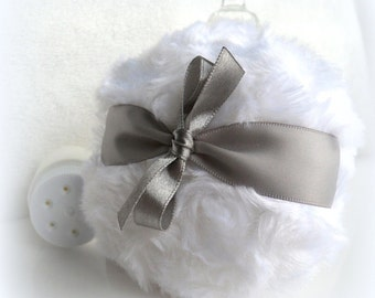 Body Powder Puff - pewter gray and white - grey bath pouf - gift boxed