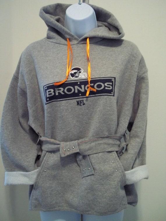 Vintage upcycled Denver Broncos apparel hooded sweatshirt