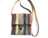 Small Shoulder Bag Striped Fabric Purse Sac Pouch