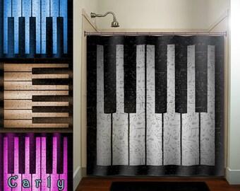 Antique Sheet Music Treble Clef Note Piano Shower Curtain Bathroom Decor  Fabric Kids Bath Window Curtains