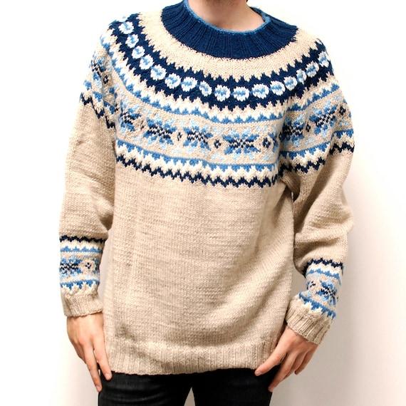 Nordic Sweater Knitting Patterns Free : NORDIC folk pattern thick KNIT sweater