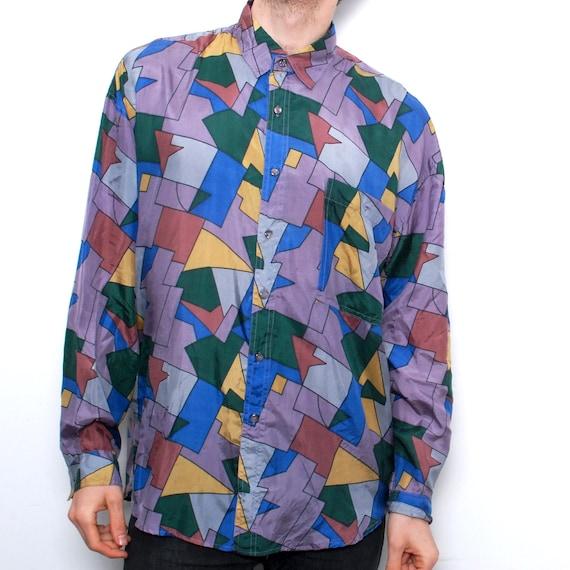 Fresh Prince 90s Art Hip Hop Silk Button Up Shirt Made In Usa