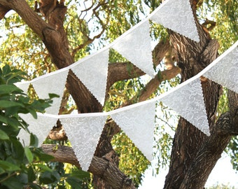 Large Wedding Bunting - Frosted Lace, Over Ten Feet Long