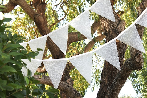 Lace Wedding Bunting - Frosted Lace Flags - Victorian Wedding