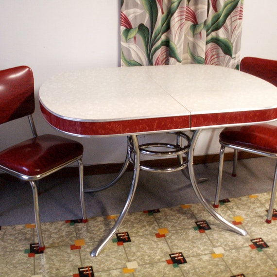 ON HOLD for Hazel     Vintage Gray and Red Formica and Chrome Retro Table and Two Red Chairs