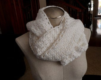 handmade crochet Infinity Scarf in Bright White (Mobius Twist)