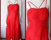 Vtg.70s Red Ruched Gathered Bodice Slinky Disco Strappy Maxi Dress.S.Bust 32-34.Waist 26