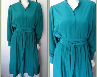 Vtg.80s Emerald Green Silk Secretary Long Sleeve Dress by Uwe Jessen.M.Bust 38-40.Waist 28-34.