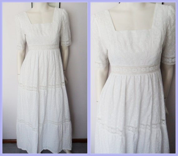 Vtg.60/70s White Eyelet Floral Embroidered Lace Wedding Cotton Maxi Dress by Algo-Ettes.S/M.Bust 34-36.Waist 28-30