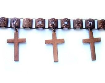 Boho Cross Bracelet - Bohemian Bracelet - Medieval Bracelet - Cross Bracelet