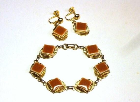 Vintage 50s Demi Parure w Thermoset Bracelet & Earrings in Art Deco Revival