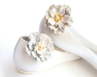 White leather flower Shoe Clips bridesmaid wedding