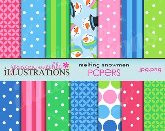 Melting Snowmen Cute Digital Christmas Papers for Card Design, Scrapbooking, and Web Design