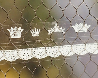 2 Set - Lace & King Glass Tapes - Crown (0.6in)