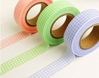Gingham Check Adhesive Masking Tape - Lime (0.6in)