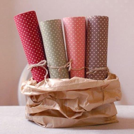 4 Set - Gorgeous Linen Polka Dot Reform Fabric Stickers (A4)