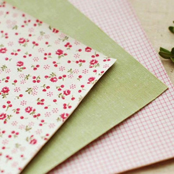 3 Set - Afresh Pink Flower & Grid Check Reform Fabric Stickers (A4)