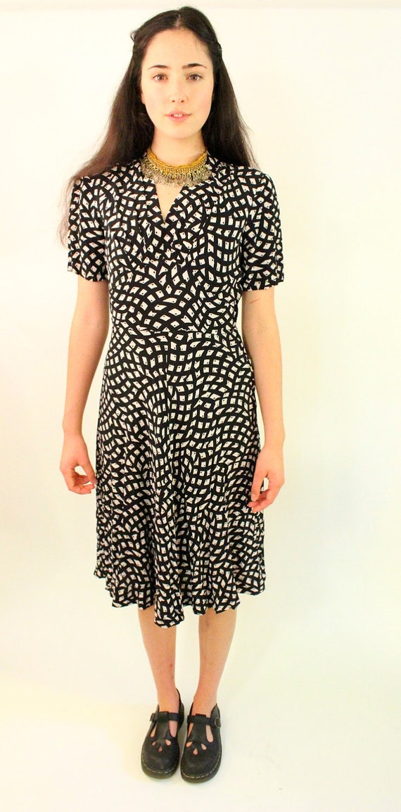 PRIMA 60s Black and White Abstract Vintage Dress