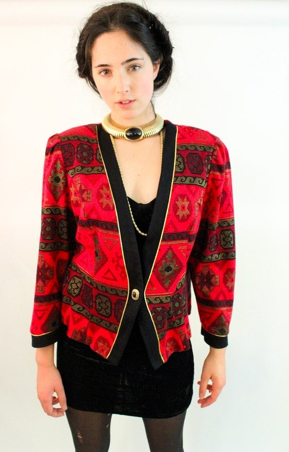 SEDONA 80s Tribal Print Red and Black Sweater