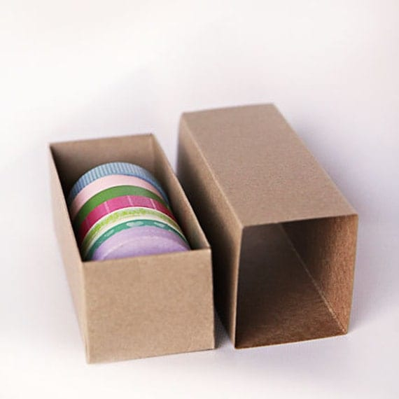 "Set of 10- Kraft or White Slider Boxes- 6 5/16 x 2 1/4 x 2  inches or 12"" x 2 1/4"" x 2"" 