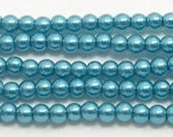 3mm Montana Blue Glass Pearls - 1 strand Grade AAA 3mm glass pearls