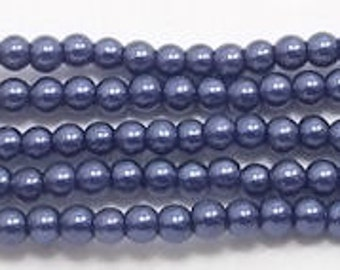 3mm Navy Blue Glass Pearls - 1 strand