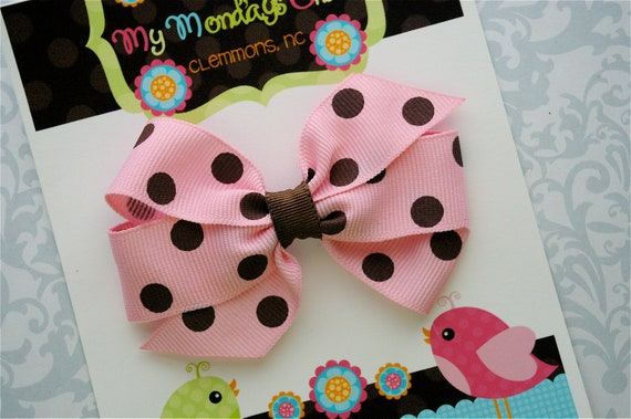 Pink and Brown Polka Dot Hair Bow - Boutique Hair Bow - Girls Hair Bows