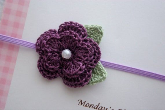Crochet Flower Headband in Plum  - Baby Headband, Newborn Headband, Baby Girl Headband