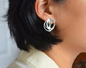Sterling silver abstract drawing stud earrings
