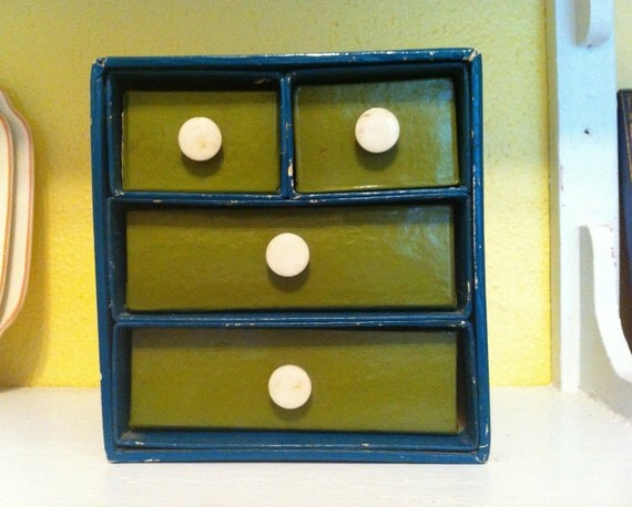 Jewelry Box Chest Chest of Drawers Miniature Bureau Vintage