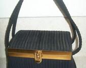 circa 1950..Vintage Black BOX Purse