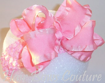 Large Pink  Double Ruffle Ribbon  Layered  Hairbow with matching Crochet Headband Fancy Hair Bows  Newborn Infants,Toddler