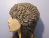 Taupe or Pick Your Color Hand Knit Hat with Patterned Wood Button