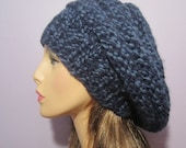 Blue Slouch Beehive Hat, Hand Knit Winter White Knit Hat