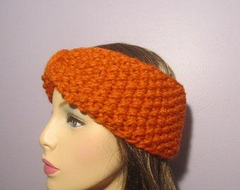 Turban Headband Earwarmers, Orange Retro Hand Knit Headband - Thick and Warm