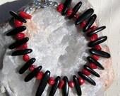 "Natural Red Coral & Black Onyx Crystal Gemstone Bracelet ""Red Terra"", Red Bracelet, Black Bracelet, Chakra Bracelet, Beaded Bracelet, Silver"