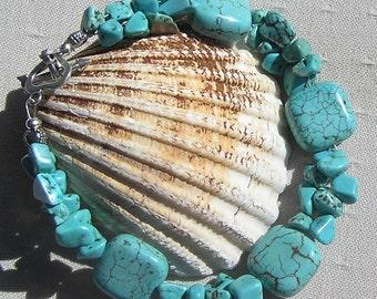 """Turquoise Magnesite Crystal Gemstone Bracelet """"Celeste"""", Chakra Bracelet, Autumn Bracelet, Turquoise Bracelet, Magnesite Bracelet"""