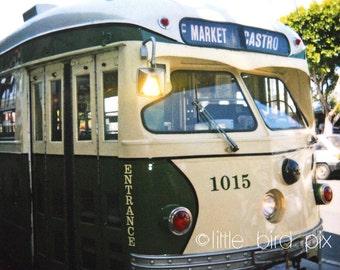 San Francisco Green Streetcar - 5 x 5 Polaroid Print