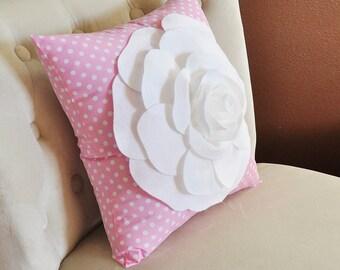 Baby Decor Throw Pillows White Rose on Pink White Polka Dot Pillow Nursery Pillow Girls Bedroom Baby Shower Gift  14x14