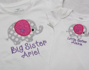 Big Sister Shirt, Little Sister Shirt - Elephants