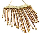 Leather, Fringe Jewelry, Gold Statement Necklace