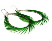 Feather Hoop Earrings - Kelly Green