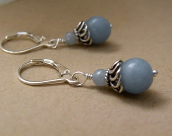 Lila    -   Angelite Gemstone Oxidized Silver Earrings