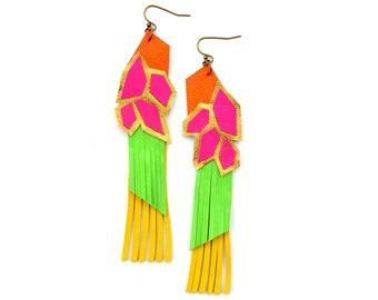 Neon Geometric Earrings, Leather Earrings, Hexagon Earrings, Tribal Hot Pink Yellow and Neon Green, Long Fringe Earrings