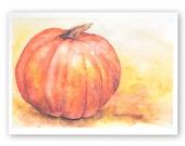 Watercolor Pumpkin Thanksgiving Fall Autumn Greeting Card