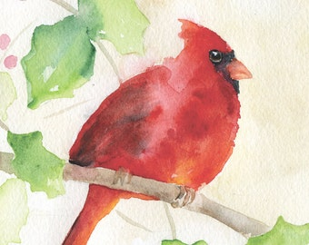 Cardinal Holly Watercolor Painting Fine Art Print Giclee 8 x 10 - 8.5 x 11