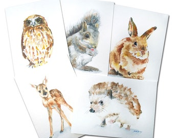 Woodland Animal Watercolor Card Set Greeting Cards - 5 x 7